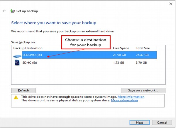 Set up Backup Window