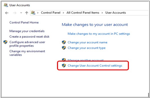 windows 10 change user account control settings