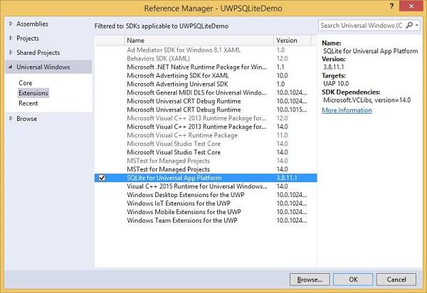 Windows 10 Development - SQLite Database