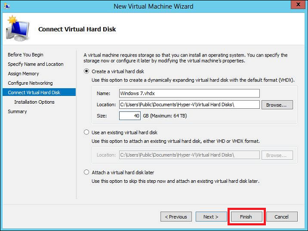 Connect Virtual Hard Disk