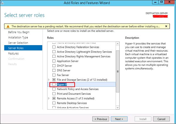 Hyper-V Server Role
