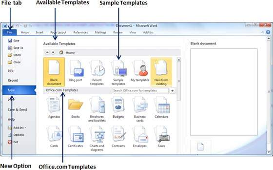 Use templates in word 2010 for Word 2010 template location