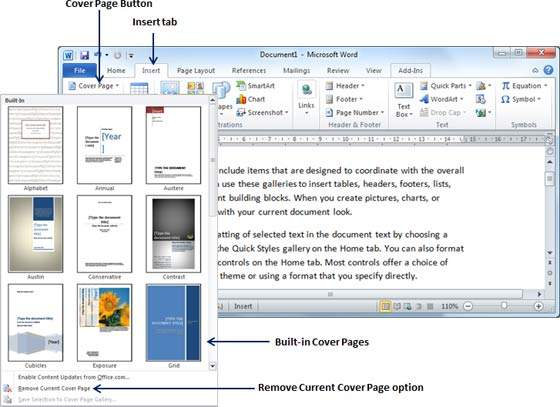 Cover pages in word 2010 remove cover pages ccuart Image collections