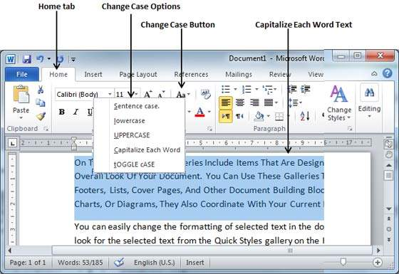 Change text case in word 2010 capitalize spiritdancerdesigns Gallery