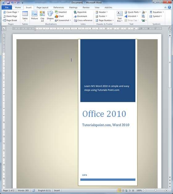 Page: Cover Pages In Word 2010