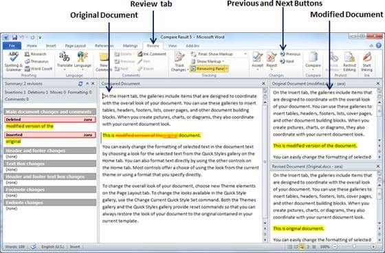 Compare Documents in Word 2010 - Tutorialspoint