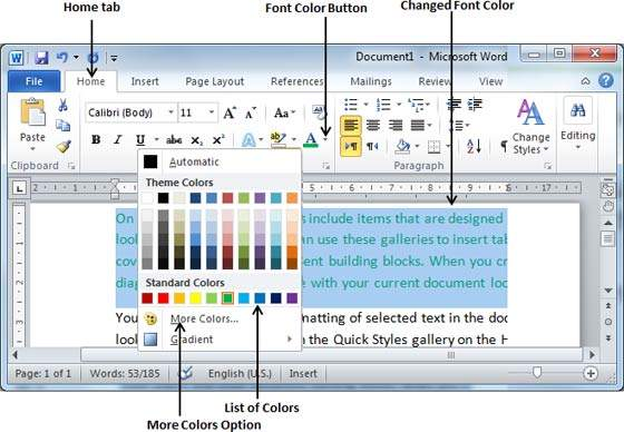 Change Text Color in Word 2010