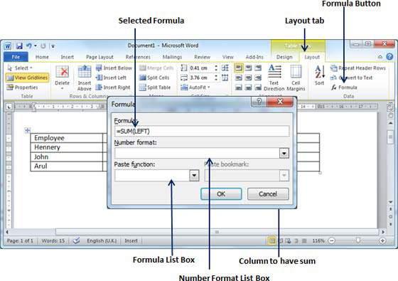Formula Dialog Box