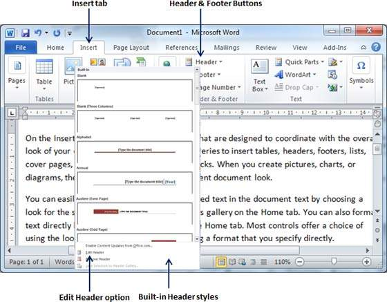 Header And Footer In Word 2010