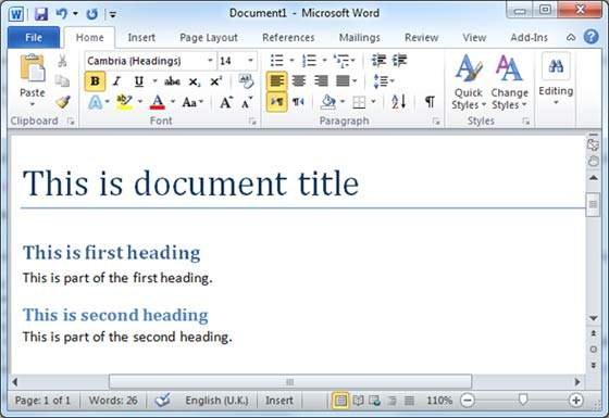 Table Of Contents In Word 2010