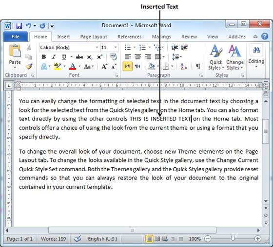 microsoft word how to add arrow abouve a