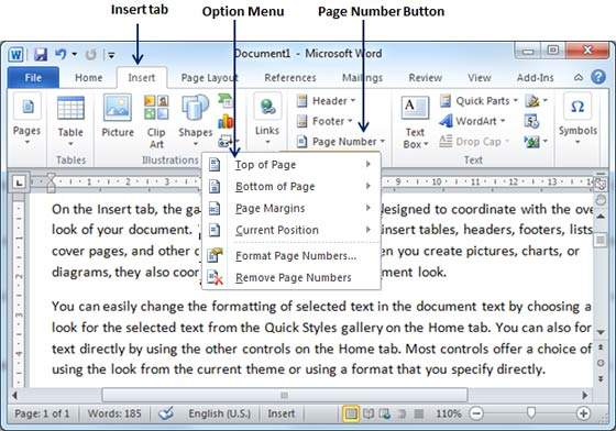 Add page numbers in word 2010 add page numbers ccuart Gallery