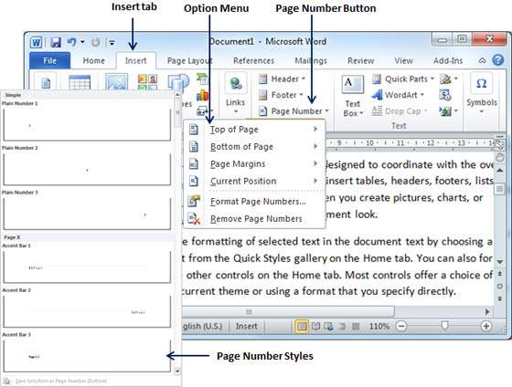 Add page numbers in word 2010 add page numbers ccuart