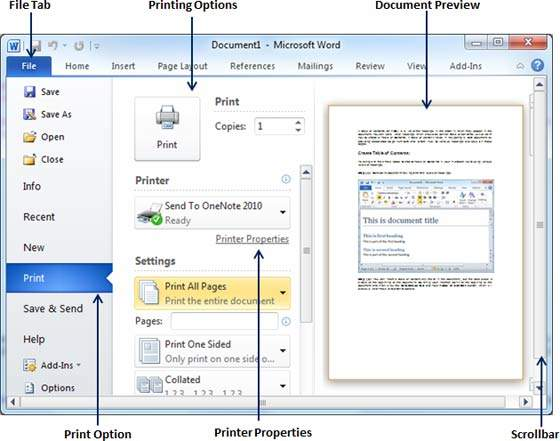 Printing Documents In Word 2010