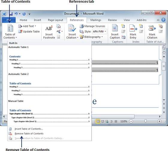 Create table of contents in word 2010 for Table of contents template word 2010