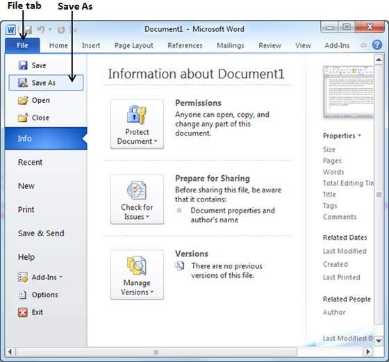 Save Document In Word 2010