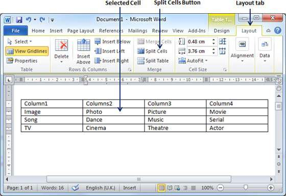 Split Cells in Word 2010