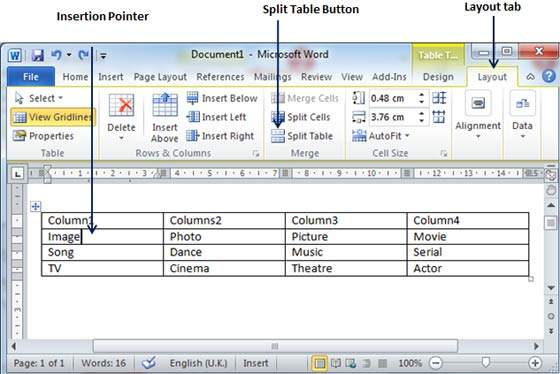 Split a table in word 2010 - How to add a column in a table ...