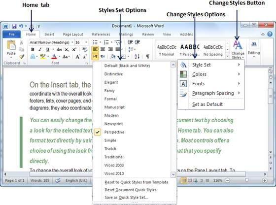 how to change styles in word 2010