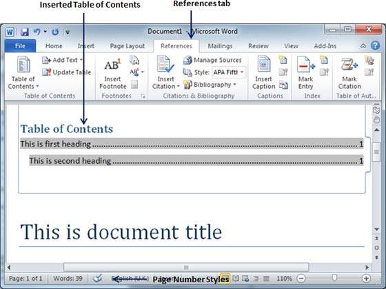 microsoft word table of contents