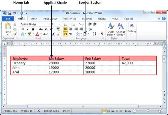 Table borders shades in word 2010 for Table design ms word