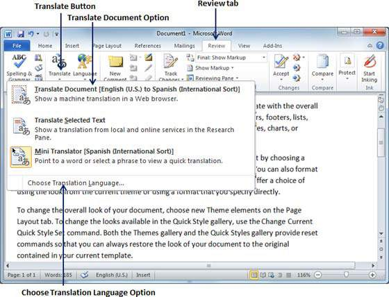 translate word 2010 document