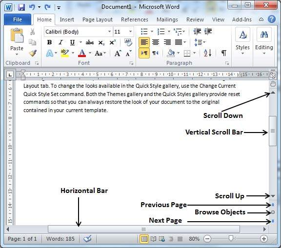 Word Scroll Bars