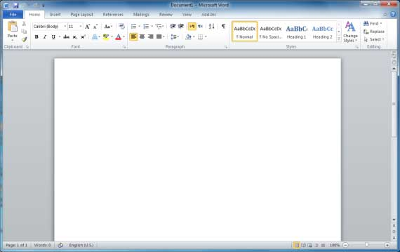 This will launch the Microsoft Word 2010 application and you will see ...