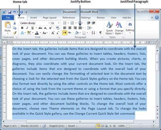 Text Alignments in Word 2010