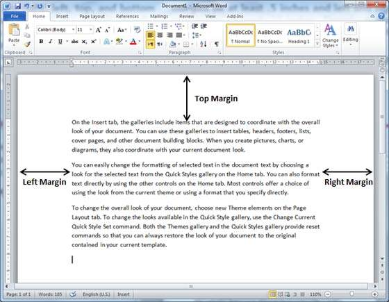 Below, I have shown top, left and right margins, if you will type ...