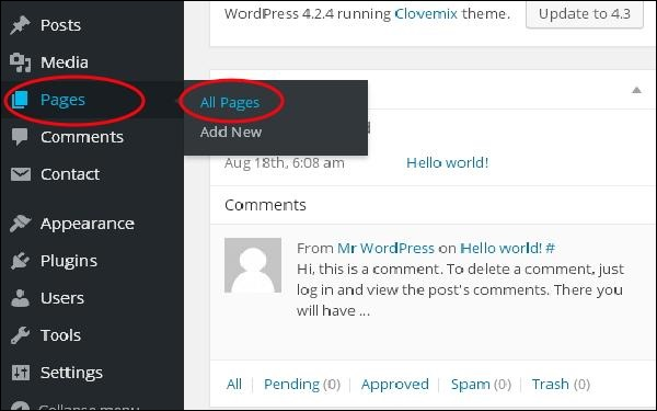 Add Links in WordPress pages 1