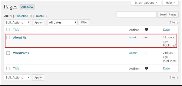 Add Links in WordPress pages 2