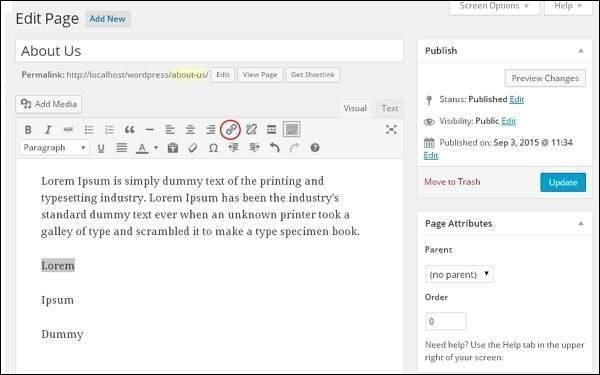 Add Links in WordPress pages 3
