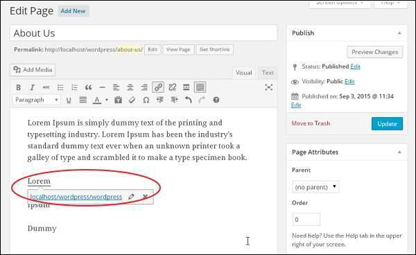 Add Links in WordPress pages 7