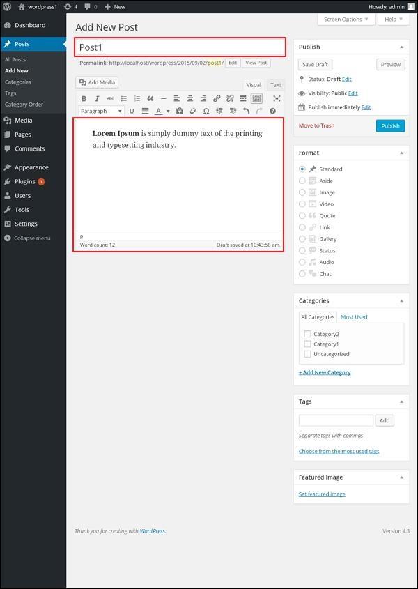 Add Posts in WordPress 2