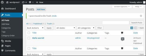 Delete Post in WordPress 3