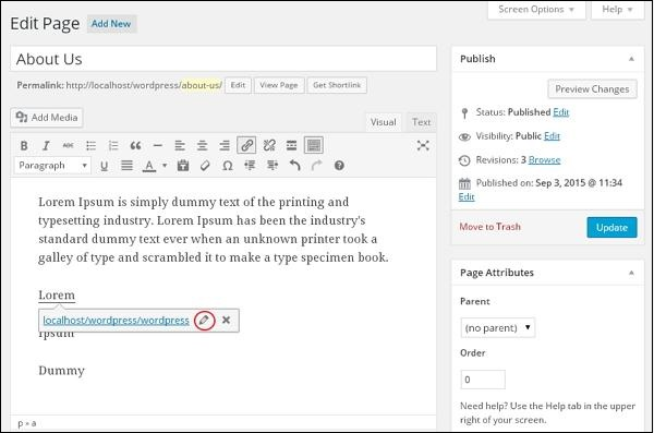 WordPress Edit Links