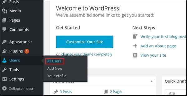 Edit Users in WordPress 1