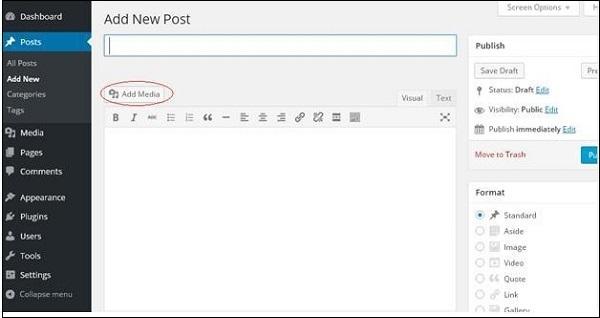 Inset Media files in WordPress 2