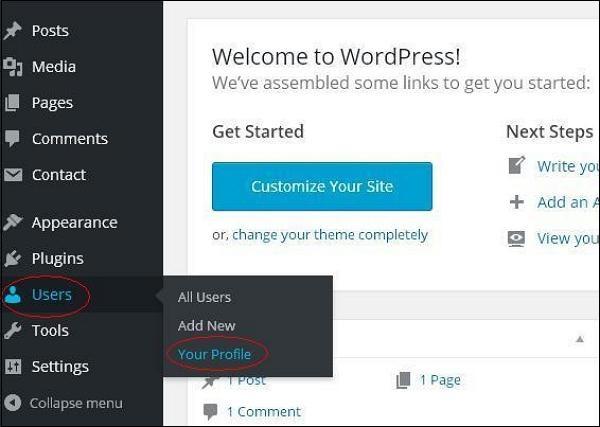 Personal profile in WordPress