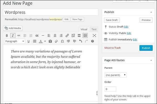 Publish Pages in WordPress 2