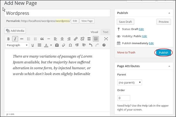 Publish Pages in WordPress3