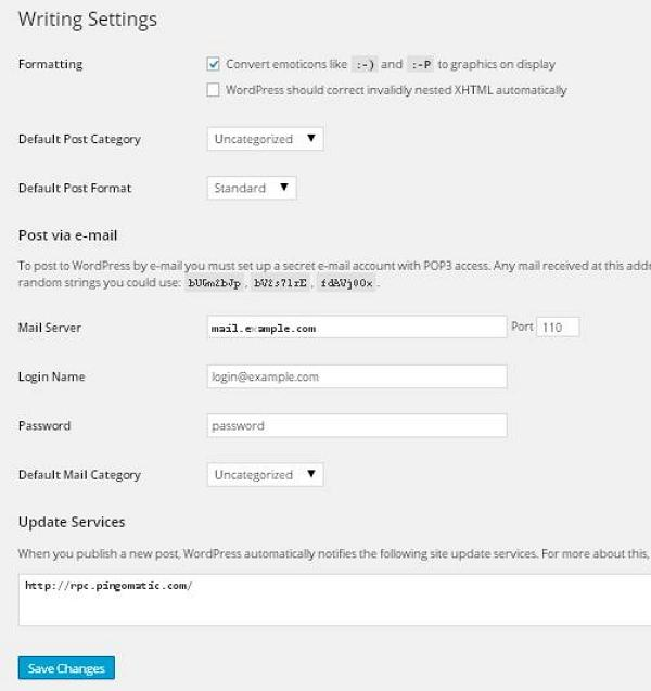 WordPress Writing Setting