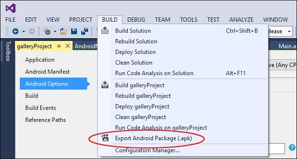 Export Andriod Package
