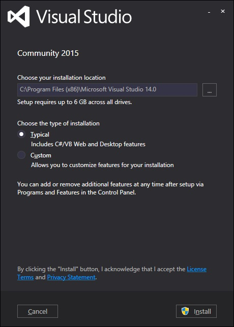 Visual Studio Dialog Box